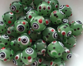 20 Glass Evil Eye Bead in Green 10mm package of 20