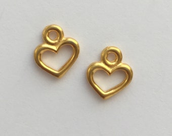 2 Gold Open Heart Charm, Pewter, package of 2