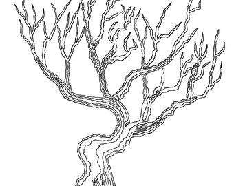 Tree 03, 10in x 8in, One Line Drawing