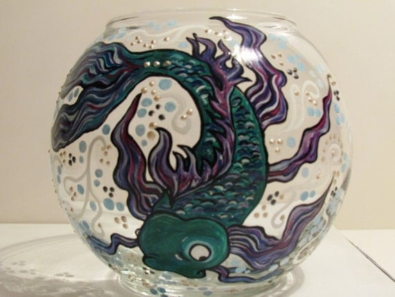 Koi fish glass bowl hand painted by roxybeedesign on etsy for Koi fish bowl