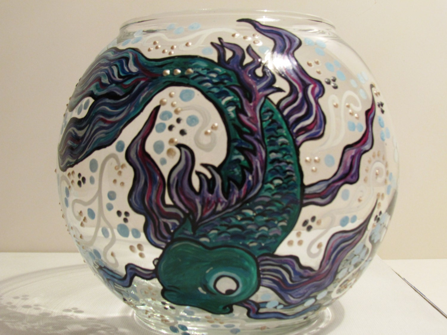 Koi fish glass bowl hand painted by roxybeedesign on etsy for Painted glass fish