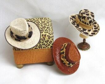 cappello da caccia stile safari in tessuto o pelle scala 1/12