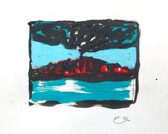 Vulcano an blue sea, Ink on paper, 24 x 24 cm