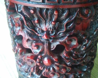 CANDLE HOLDER red resin,carving dragons,Chinese candle holder,flowers carving,home decor,dragon face,dragon head,on,red holder,