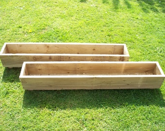 Handmade  2 x tanalised wooden garden planter, 600, 900 or 1200mm Long, wood trough