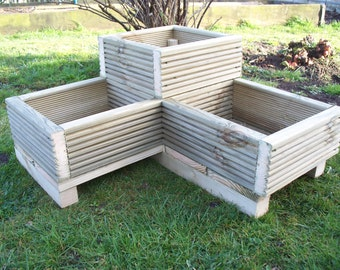 Corner Decking wooden garden planter, L shaped planter, wood trough,timber herbs planter, handmade