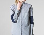 light denim shirt / boyfriend style shirt  / ladies oversized shirt / chambray denim shirt / oversized denim shirt