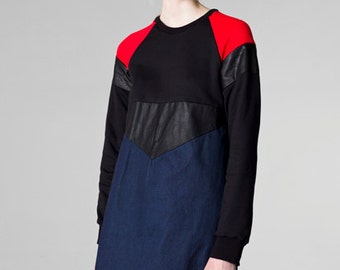 sweatshirt dress / denim dress / color block dress / leather dress / sporty style dress / women dress / shift denim dress