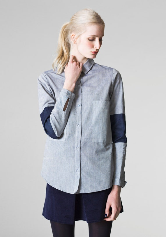 Light denim shirt boyfriend style shirt ladies oversized for Ladies light denim shirt