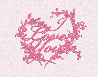 Instant download papercutting template, unique  I Love You DIY gift, downloadable beautiful paper cut forget me not flowers heart design