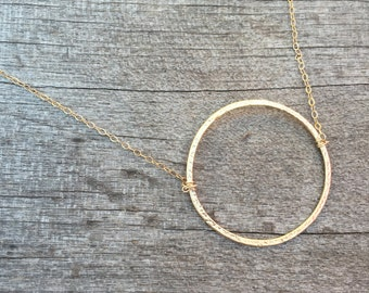 Modern Circle Necklace -Circle Necklace -Petite Necklace -Modern Necklace-Wirewrapped Circle Necklace -Gold Necklace
