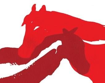 "Art Print, Red, Horses, Love, Friendship, Watercolor 5x7"""