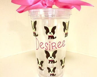 Personalized Puppy Water Tumbler/Custom/Present/Gift/Dog/Pink/Cup