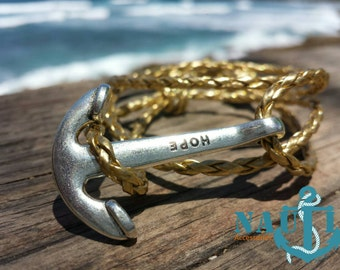 "NAUTI  ""Big Boat Hope"" Anchor bracelet in leather rope"