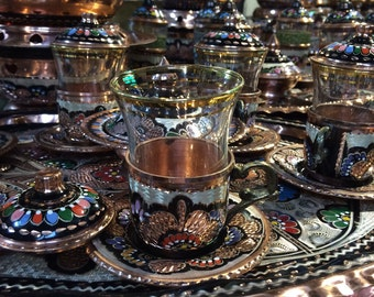 Traditional Turkish tea,Ottoman tea set,Handcraft,Coffee,Oriental experience