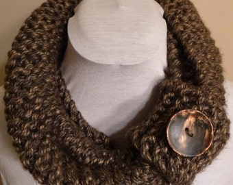 Knitted Infinity Scarf. Button Cuff Scarf. Single Loop Infinity Scarf with Button Cuff. Thick and Chunky Scarf.