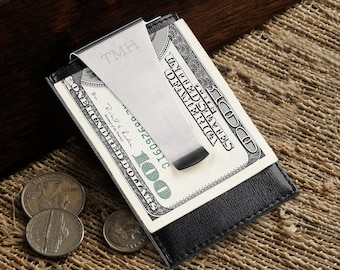 Leather Money Clip and Credit Card Holder (g186-1130) - Free Personalization