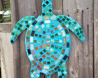Multi-Color Hanging Glass Tile Mosaic Turtle