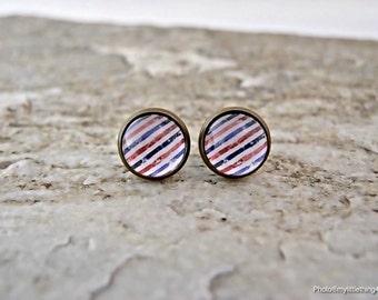 Stripe Earrings, Stripe Stud Earrings, Antique Earrings, Silver Earrings, Stripe Jewelry, Pattern 1