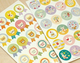 Toto CUTE ANIMAL round envelope stickers/2pcs
