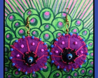 Violet-eyed Peacock Earrings