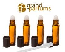 6 10ml Amber Glass Roll-on Bottles Roller Balls Perfume, Essential Oil, Lip Balm, Party Favor, Purse Travel Bottles - DIY Crafts