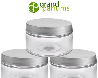 12 Clear 2 Oz Low Profile Jars, PET Plastic Empty Cosmetic Containers 60mL Silver, Black, White, Caps Sugar Scrub, Salts, Body Butter, Cream