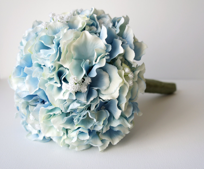 Blue hydrangea bouquet silk wedding flowers bridesmaid for Wedding bouquets