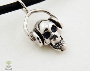 Silver Skull dj pendant, Valentines Day Jewelr Silver pendant, Silver Necklace,  Mens Jewelry Hand Made
