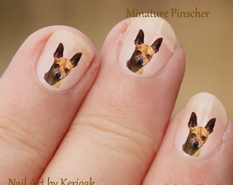 Miniature Pinscher Nail Art,  Dog Nail Art Stickers, Miniature Pinscher Nail Stickers, Fingernail Stickers Min Pin Decals