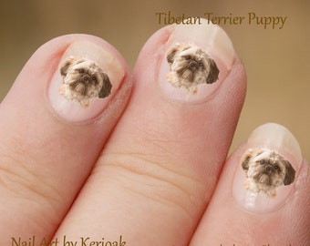 Tibetan Terrier Nail Art,  Dog Nail Art Stickers, Tibbie Nail Stickers, Fingernail Stickers, puppy portrait, decals