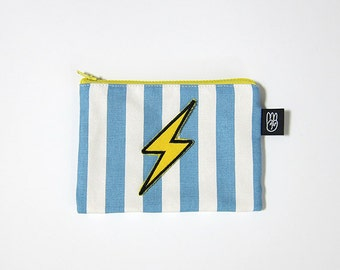 Light Blue Stripe Coin Purse, Credit Card Purse, Small Zip Pouch, Card Pouch with Embroidered Lightning Patch
