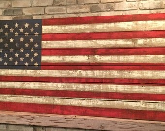 handmade american flag wall hanging etsy. Black Bedroom Furniture Sets. Home Design Ideas