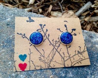 Deep Blue/Purple Glitter 12mm post earrings