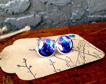 Galaxy Forest post earrings