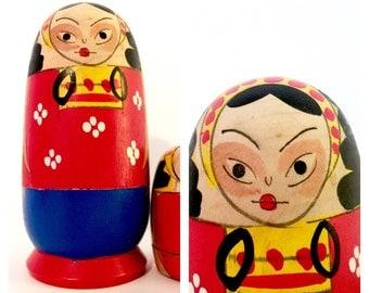 "Vintage Nesting Dolls, Japanese Nesting Dolls, Shackman, New York, ""Seven Little Indians."" Matryoshka Dolls, Original Box."