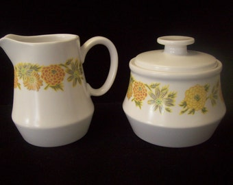 Noritake 1970s Sunny Side pattern Cream & Sugar, like new!