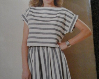 Vintage See & Sew 5148 Sewing Pattern Misses' Top and Skirt Size A (8-10-12-14-16)