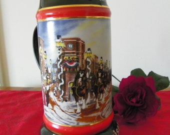Vintage 1992 A Perfect Christmas Budweiser Beer Stein, Collector's Series, by Susan Sampson, Advertising Stein, Mug