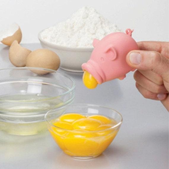 YolkPig Egg separator Silicone Peleg Design Pink Great gift Kitchen Gadget, Egg Yolk Out Separators cooking easy tools,Pink Pig design