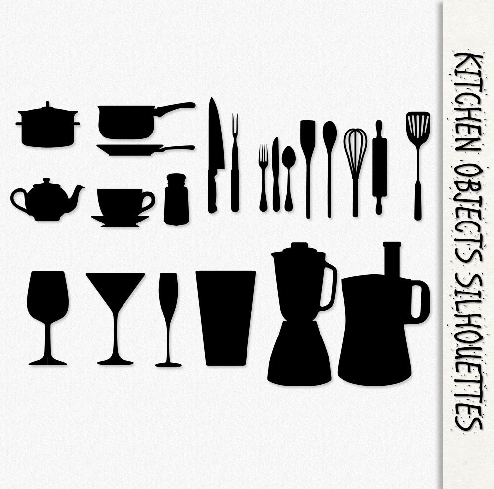 Kitchen Object Silhouettes Graphics Clip Art Clipart ...