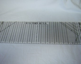 """Quilter's Ruler, Plastic Guide, 6' x 24"""" Ruler, Graph Ruler, Clear and Black Ruler, Used Ruler, Many Measurements"""