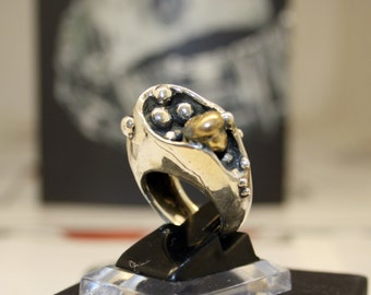 "925 Silver ring-sculpture ""spheres"""