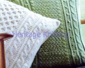 Aran cushion set knitting pattern 99p