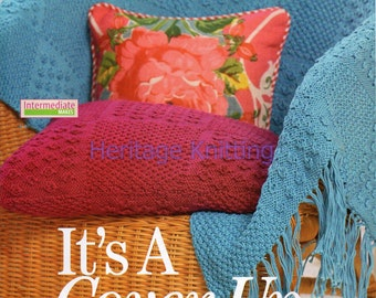 throw and cushion dk knitting pattern 99p