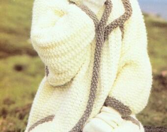 womens coat aran style knitting pattern 99p