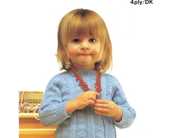 girls sweater dk and 4 ply knitting pattern 99p
