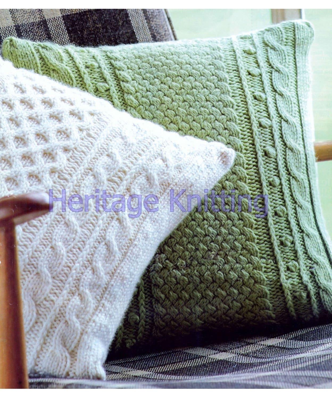 Aran Cushion Knitting Patterns : Aran cushion set knitting pattern 99p