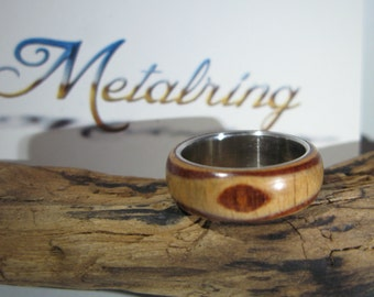 Handmade ring surgical steel, pine and wallnut woods