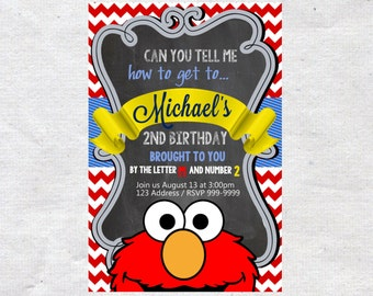 Elmo Birthday Invitation Invite Chalkboard Chevron Pattern Elmo invitation